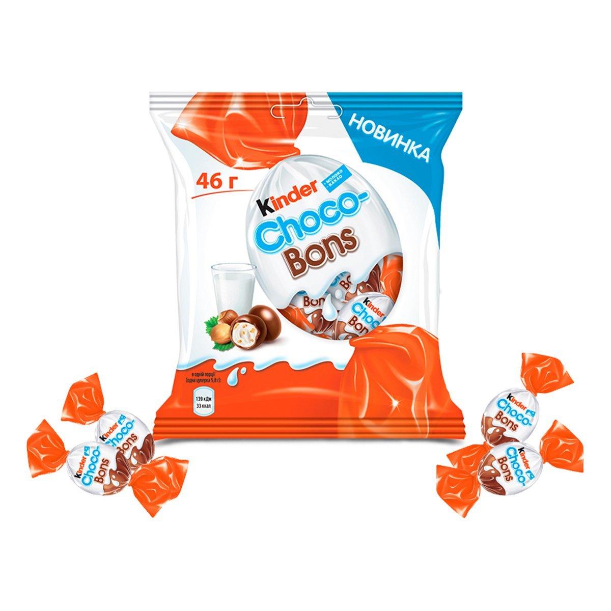 Конфеты Kinder Choco-Bons из молочного шоколада с молочно-ореховой начинкой 46 г G46x12 ТМ: Kinder