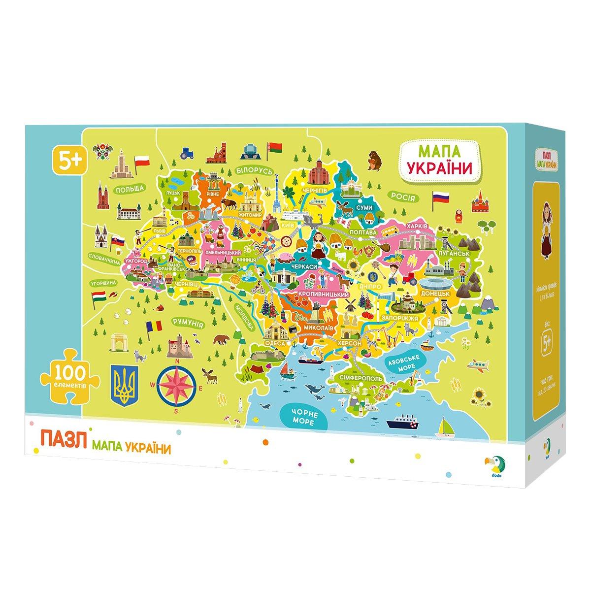 Купить Картонные, Пазл DoDo Карта Украины 100 эл 300109 ТМ: DoDo