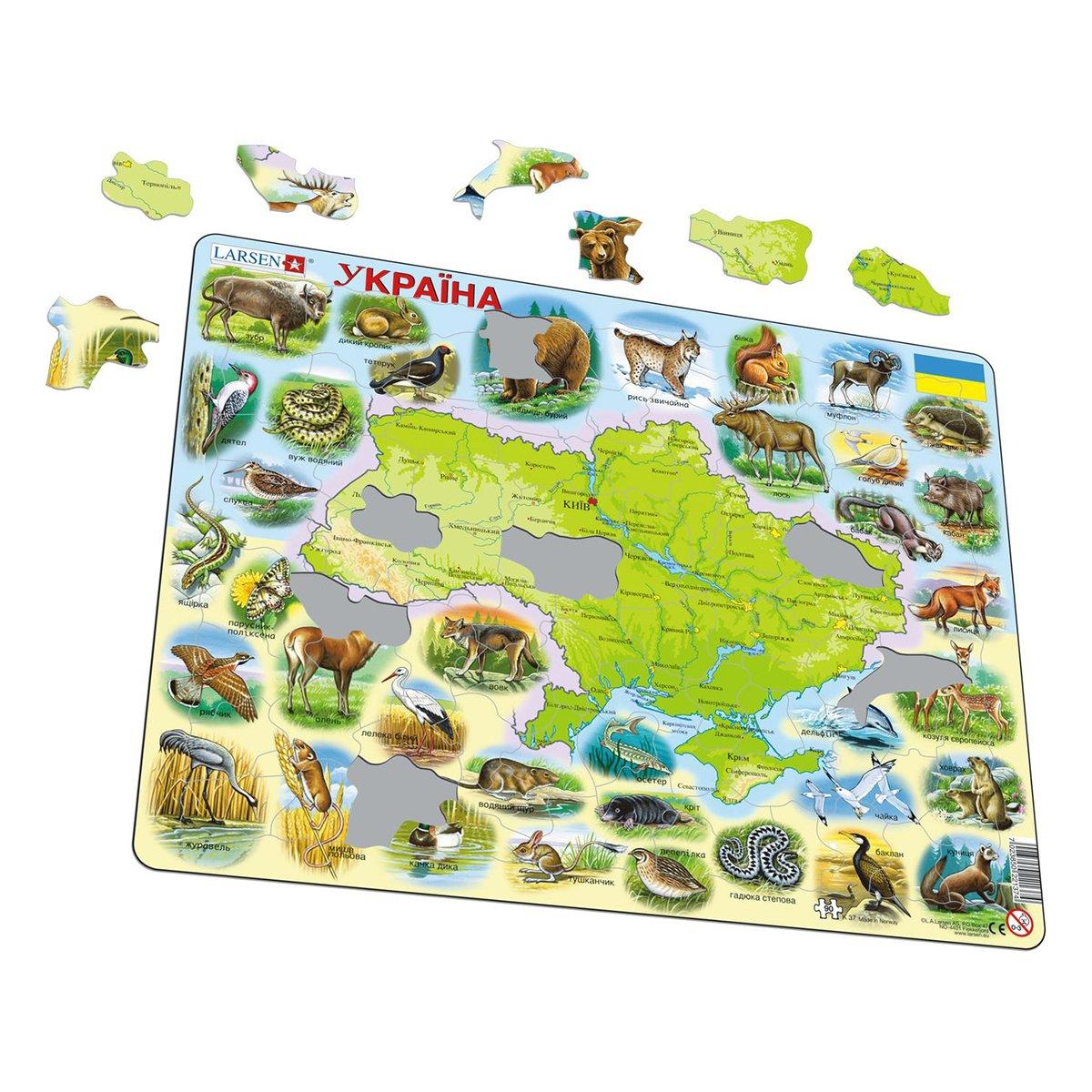 Купить Пазлы, Пазл-вкладыш Larsen Карта Украины – животный мир 90 эл K37 ТМ: Larsen
