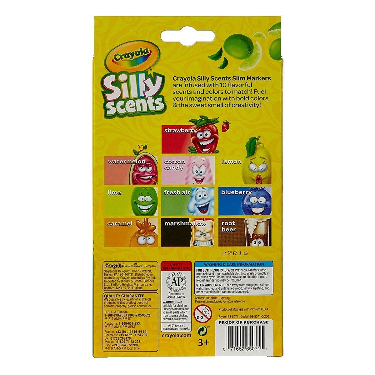 Купить Наборы для рисования, Ароматизированные фломастеры Crayola Silly Scents с тонким пером, 10 цветов 58-5071 ТМ: Crayola
