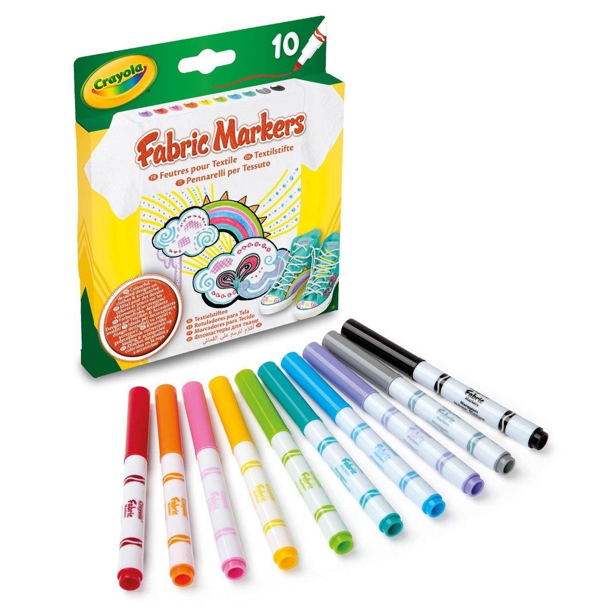 Купить Декорирование, Набор маркеров Crayola Fabric Fine Line для рисования по ткани, 10 цветов 58-8633 ТМ: Crayola