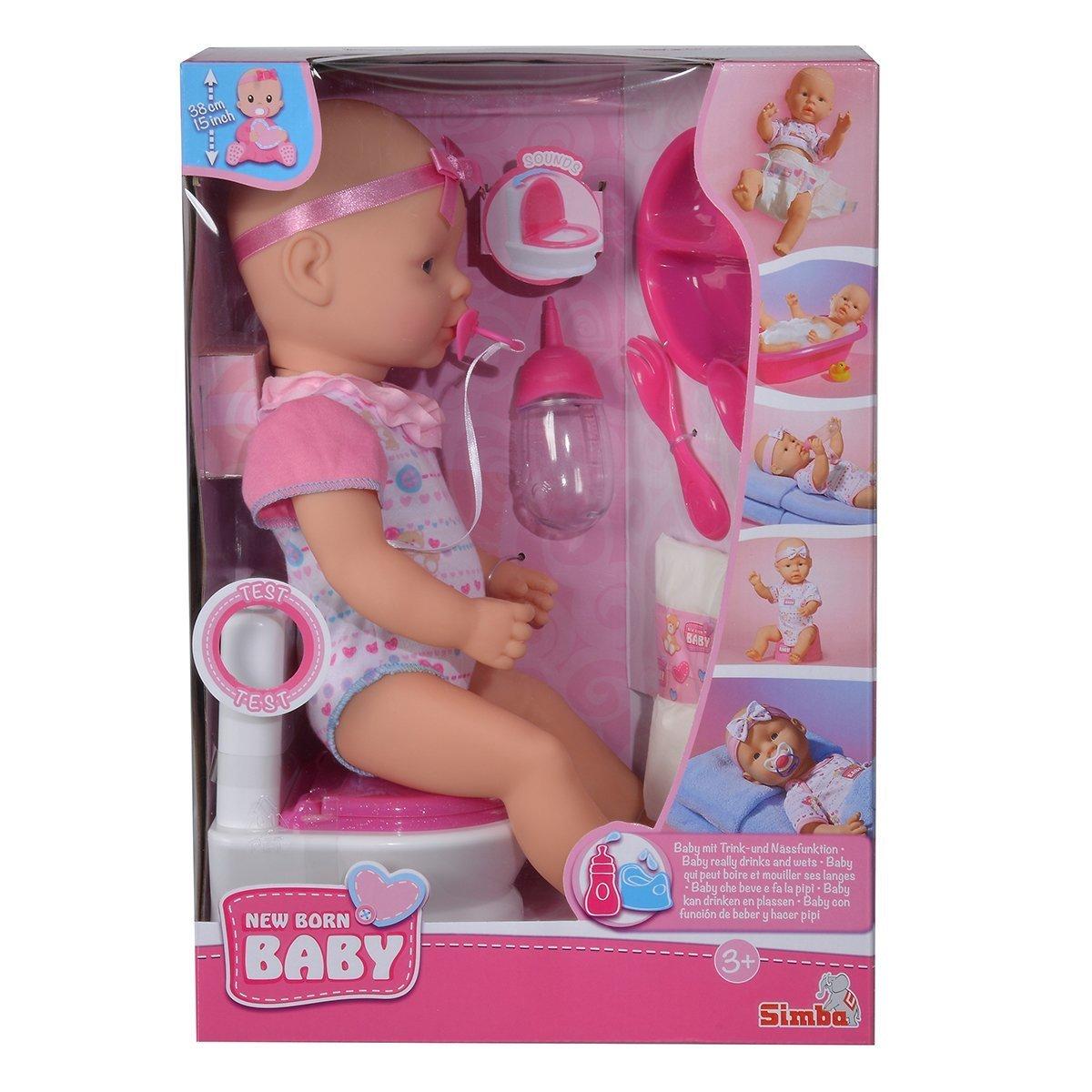 Купить Пупсы и наборы, Кукольный набор Simba New Born Baby Уборная, 38 см 5032483 ТМ: New Born Baby
